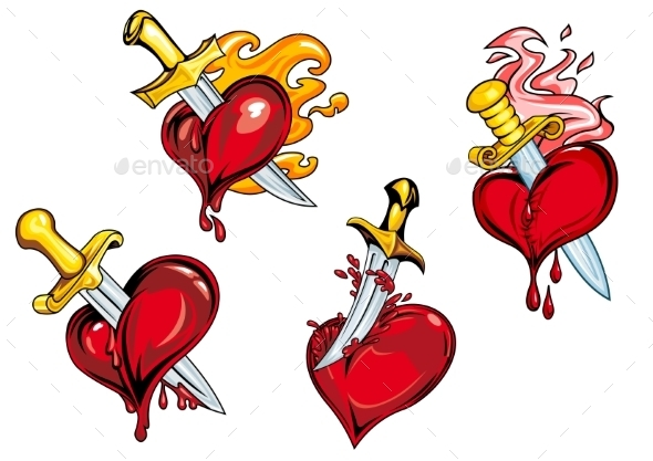 Bleeding Hearts Stabbed by Daggers - Valentines Seasons/Holidays