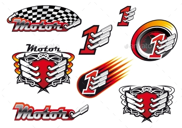 Racing and Motocross Emblems - Sports/Activity Conceptual