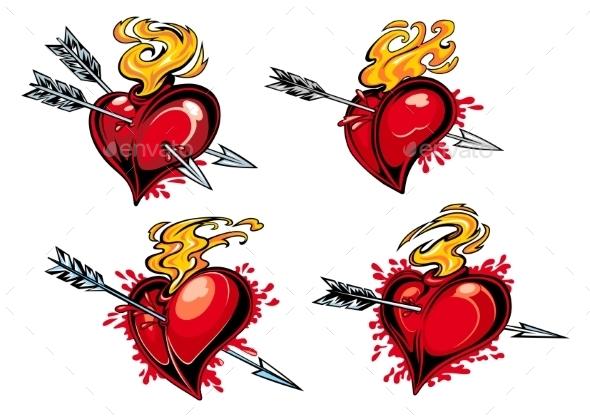 Bleeding Hearts with Arrows - Valentines Seasons/Holidays