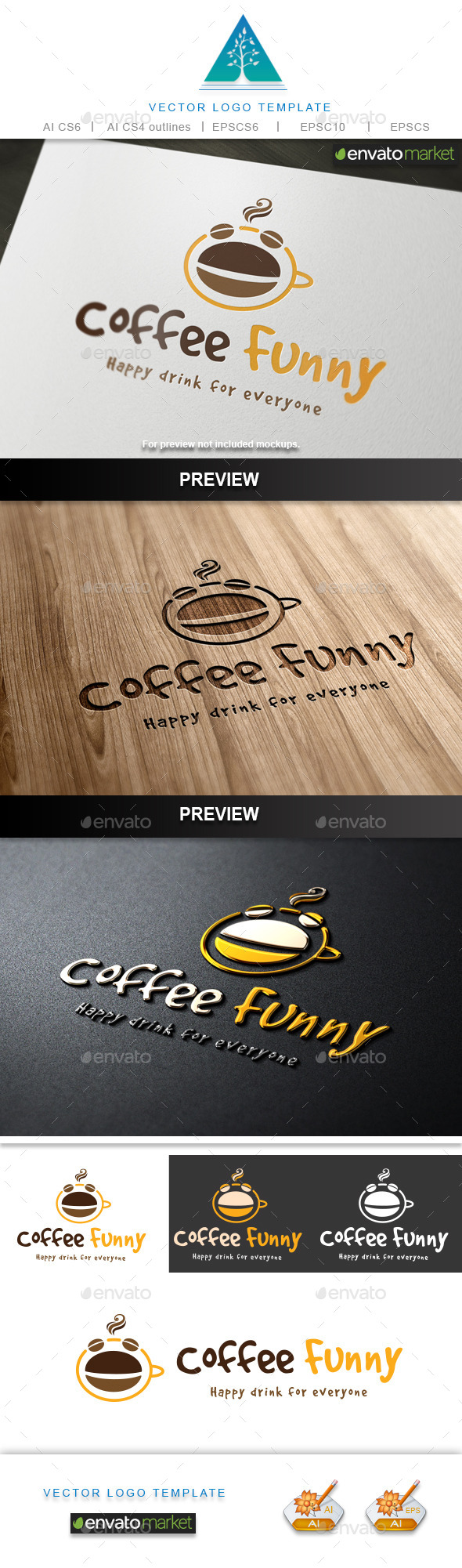 Coffee Funny Logo - Food Logo Templates