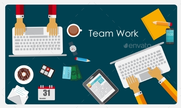 Team Work Flat Concept - Web Technology