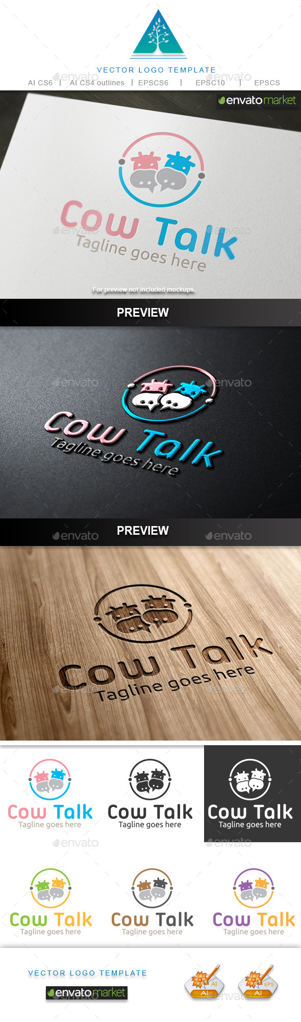 Cow Talk Logo - Animals Logo Templates