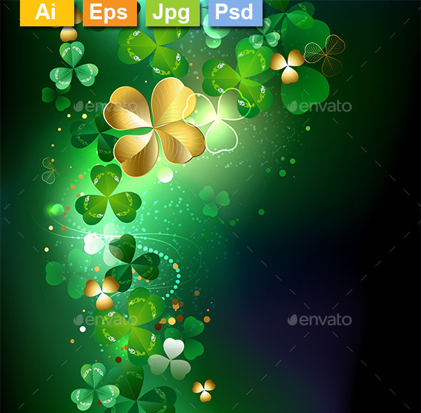 Glowing Golden Shamrock - Backgrounds Decorative