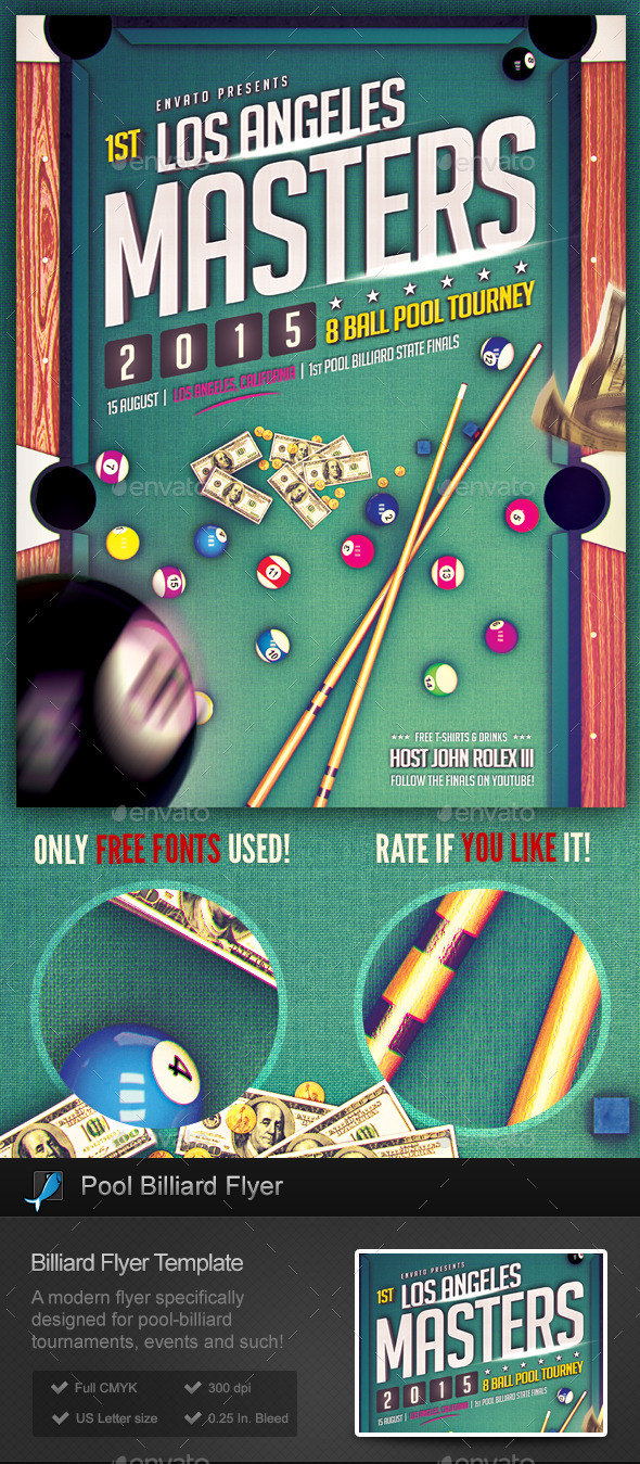 Pool Billiard Flyer Template By Stormdesigns Graphicriver