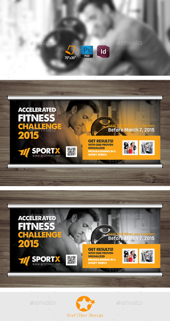 Fitness Center Billboard Templates - Signage Print Templates