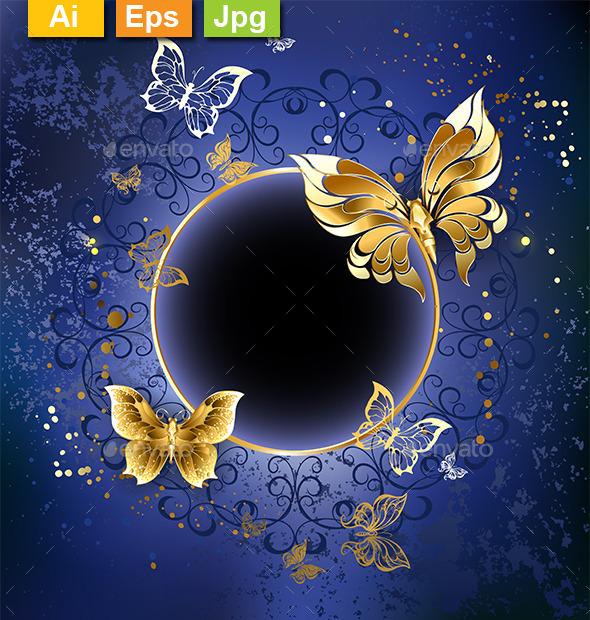Gold Butterflies on a Blue Background - Decorative Vectors