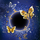 Gold Butterflies on a Blue Background - GraphicRiver Item for Sale