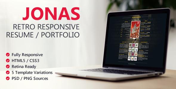 Jonas – Retro Responsive Resume / Portfolio