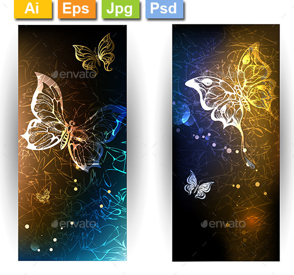 Two Banners with Glowing Butterflies - Web Elements Vectors