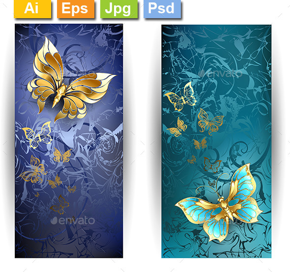 Two Banners with Gold Butterflies - Web Elements Vectors