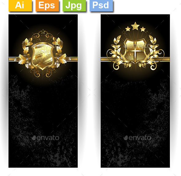 Two Banners with Shields - Decorative Vectors
