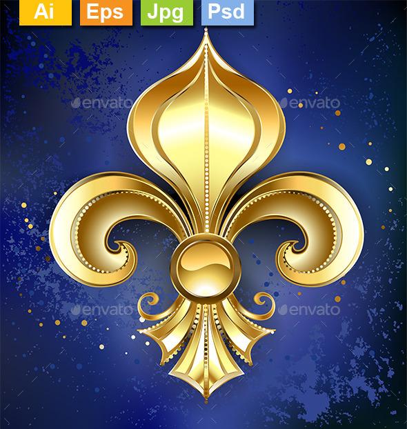 Gold Fleur-De-Lis on a Blue Background - Decorative Symbols Decorative