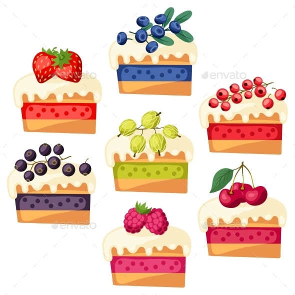 Cakes with Various Fillings - Food Objects