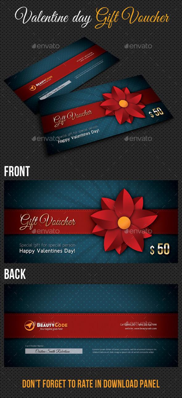 Valentine Gift Voucher V02 - Cards & Invites Print Templates