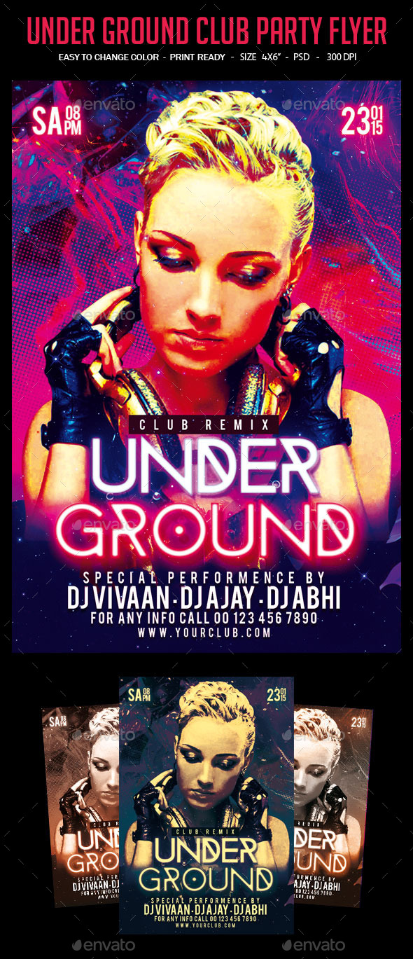 Under Ground Party Flyer - Clubs & Parties Events