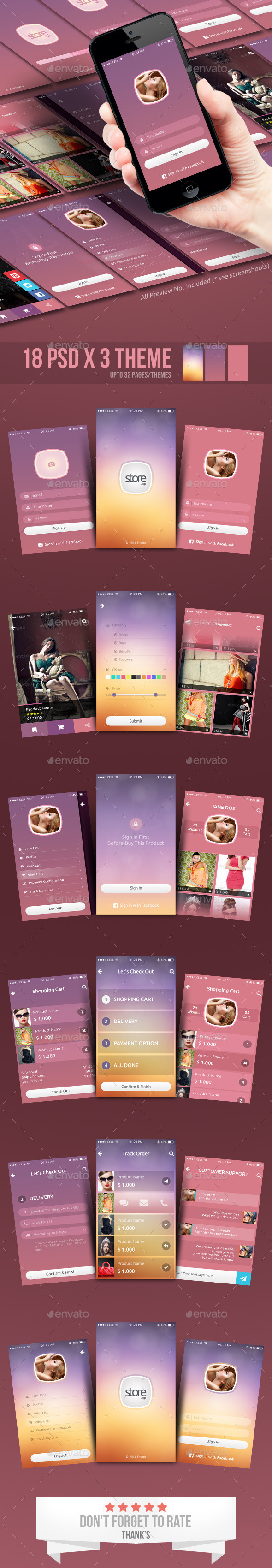 Fashion Store - Mobile App UI - User Interfaces Web Elements