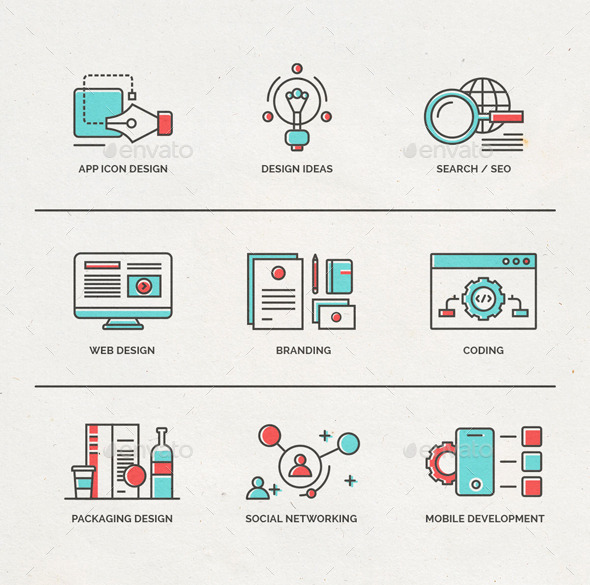 Fineline Icons for Webdesign and Mobile Marketing - Web Icons