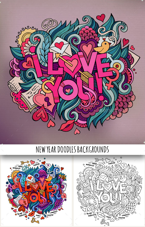 3 I Love You Doodles Designs - Valentines Seasons/Holidays