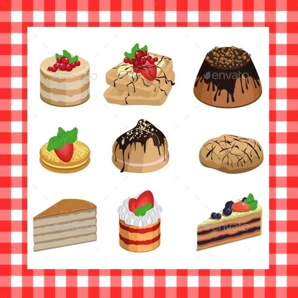 Set of Sweet Appetizing Cakes on Red Plaid - Birthdays Seasons/Holidays