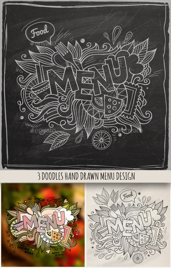 3 Menu Doodles Designs - Food Objects