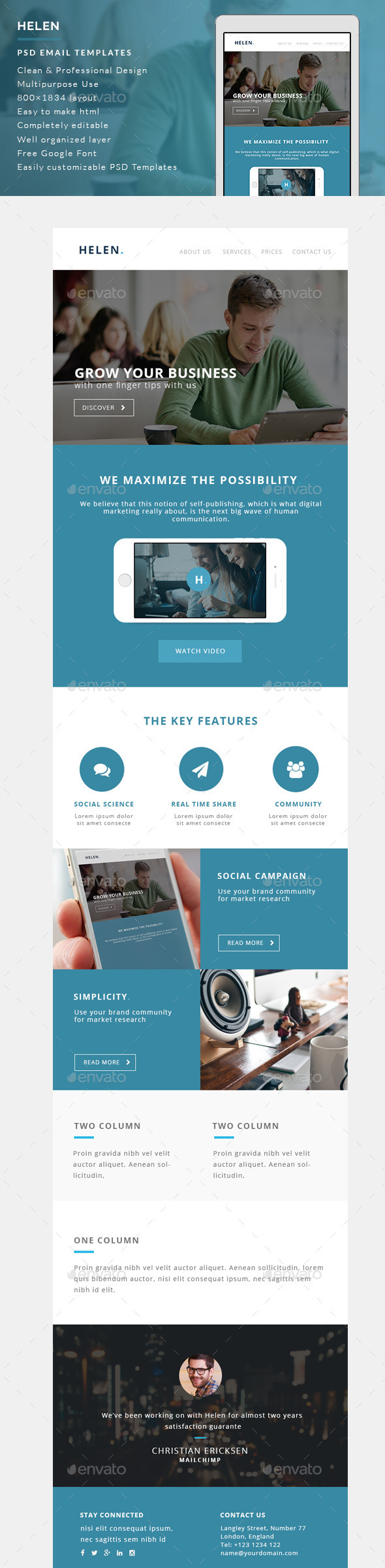 Corporate Email Templates - Helen - E-newsletters Web Elements