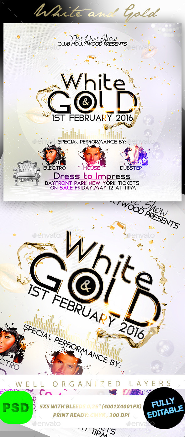 White and Gold - Events Flyers