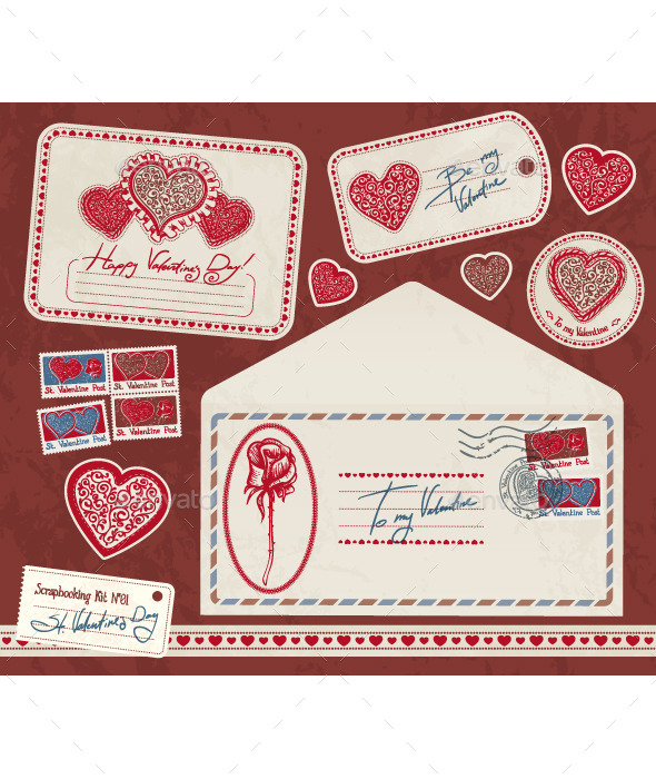 Valentine Scrapbooking Kit  - Valentines Seasons/Holidays