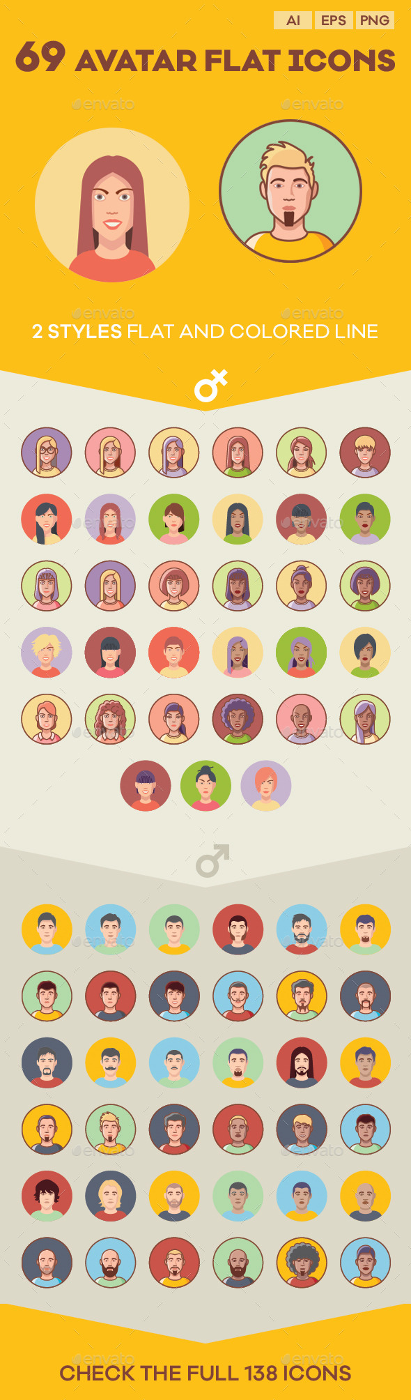 Avatar Flat Icon Set - People Characters