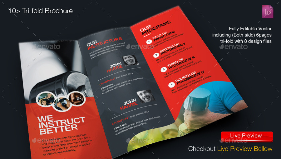 Gym Brochure. 18 Fitness Brochures Free Psd Ai Indesign Vector Eps ...