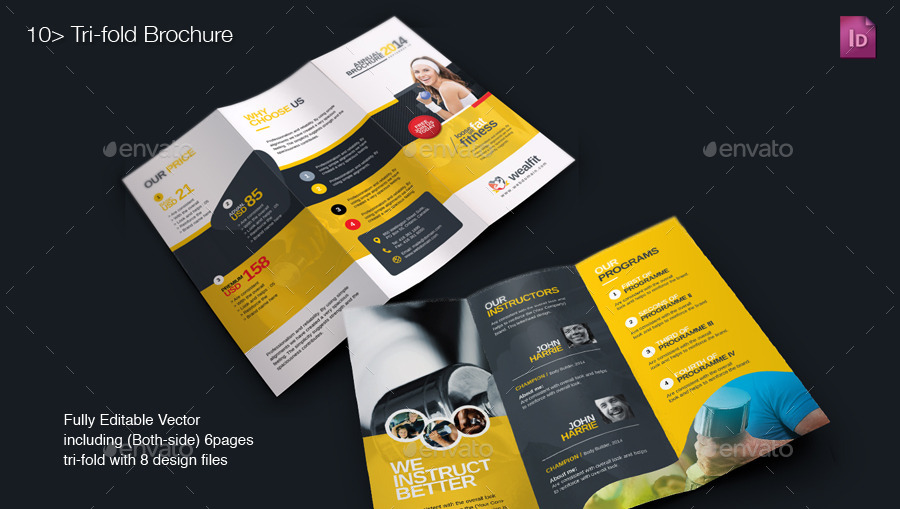 Gym Brochure. Creative Gym Tri-Fold Brochure ~ Brochure Templates