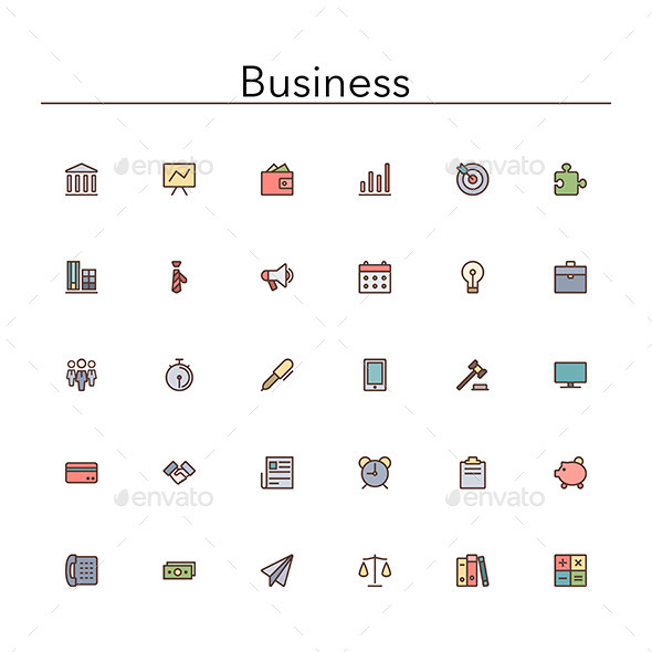 Business Colored Line Icons - Business Icons