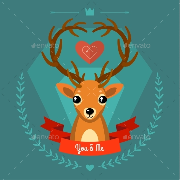 Greeting Card with Deer on Blue - Valentines Seasons/Holidays