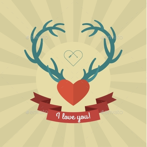 Heart with Blue Deer Antlers - Valentines Seasons/Holidays