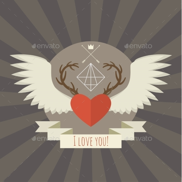 Heart with Deer Antlers and Wings on Gray - Valentines Seasons/Holidays