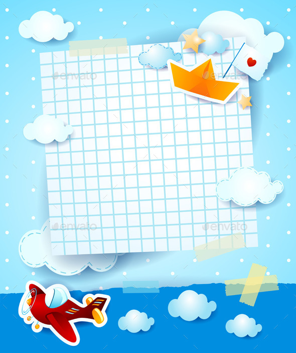 Baby Shower Invitation with Airplane and Boat - Backgrounds Decorative