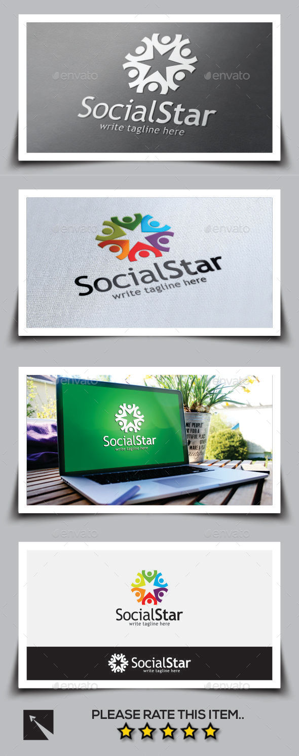 Social Star Logo Template - Humans Logo Templates