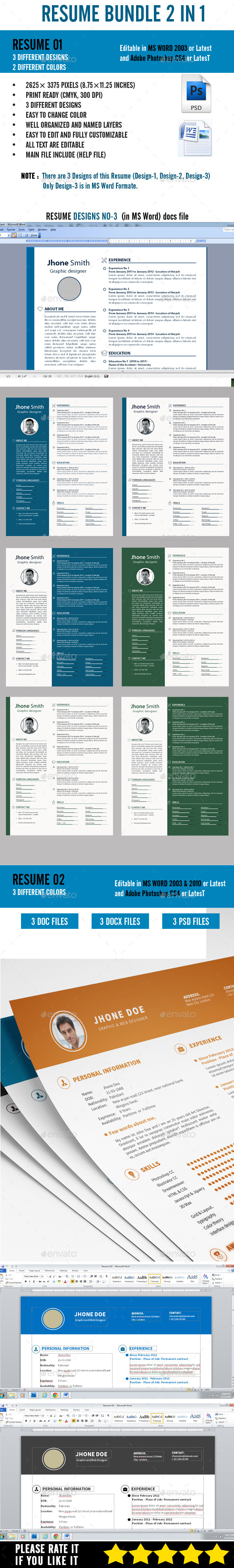 Resume Bundle 2 in 1 - Resumes Stationery