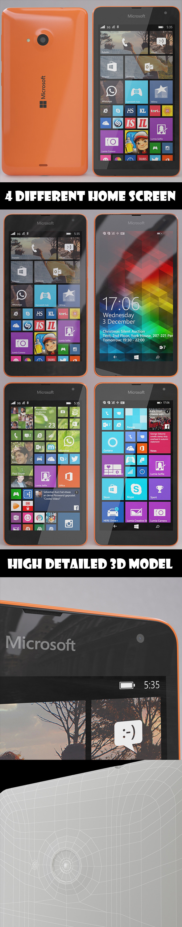 Microsoft Lumia 535 Orange - 3DOcean Item for Sale