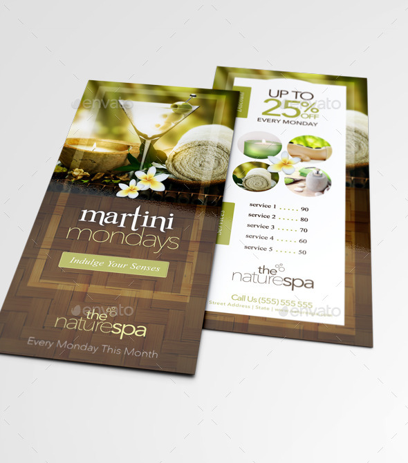 Spa Rack Card  Business Card Template By Thatdesignerchic