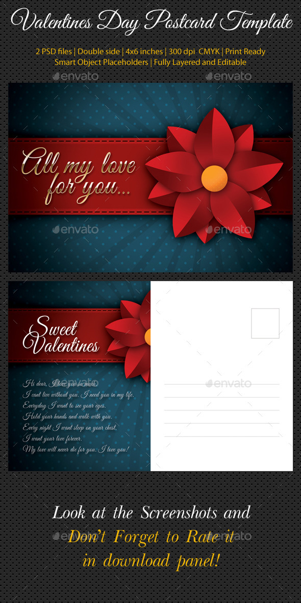 Valentines Day Postcard Template V02 - Cards & Invites Print Templates
