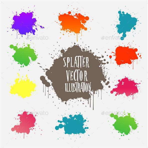 Splatter Design Element Collection - Decorative Vectors