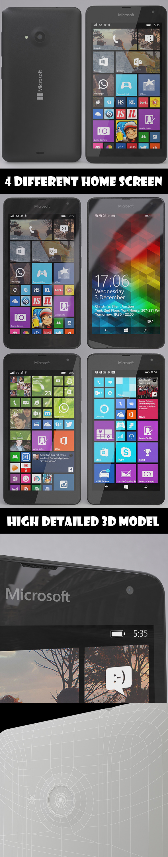 Microsoft Lumia 535 Gray - 3DOcean Item for Sale