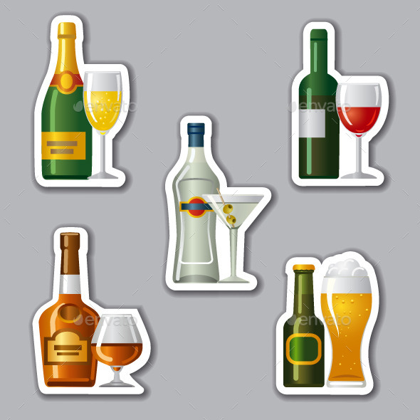 Alcohol Drinks Stickers - Food Objects