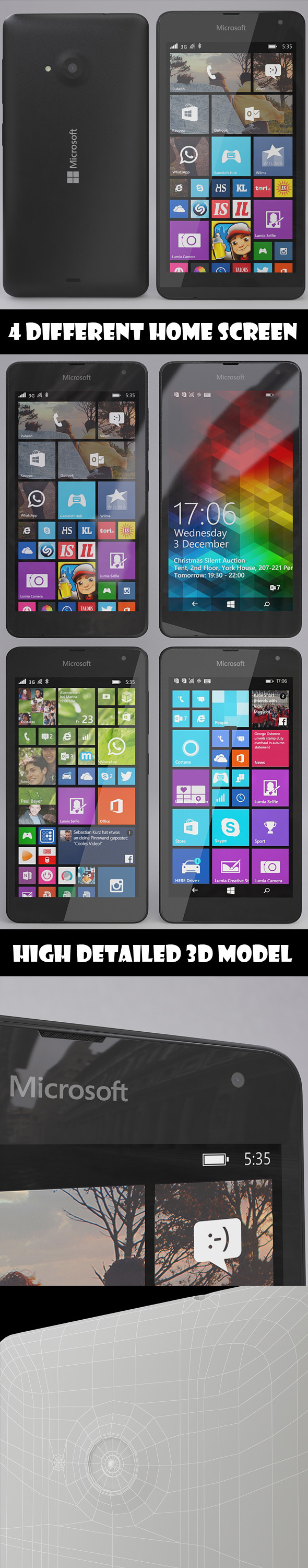 Microsoft Lumia 535 Black - 3DOcean Item for Sale