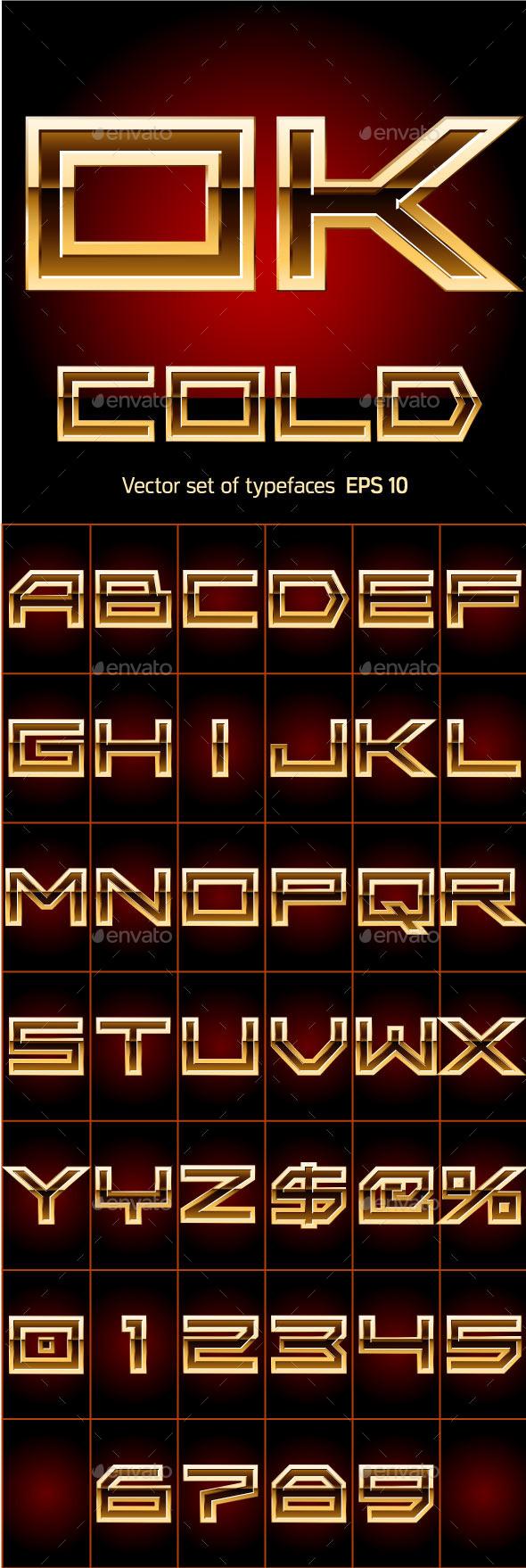 Illustration of Golden Alphabet - Decorative Symbols Decorative