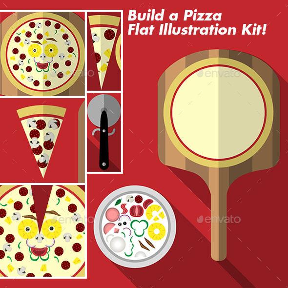 Build a Pizza Flat Illustration Kit - Food Objects