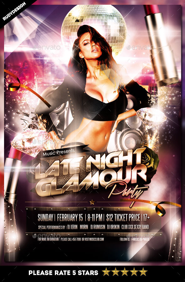 Late Night Glamour Party Flyer - Clubs & Parties Events