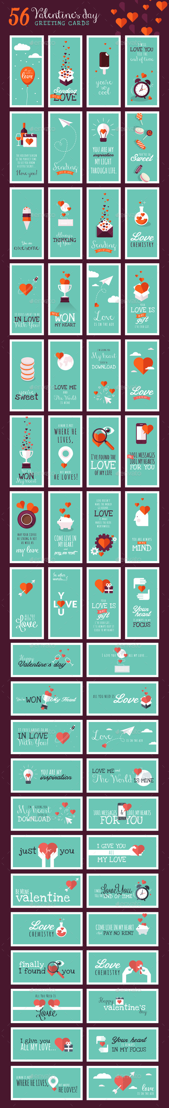 Set of Valentines Day Greeting Cards  - Valentines Seasons/Holidays
