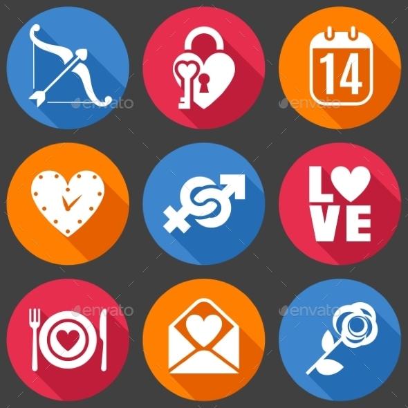 Flat Love Icons - Valentines Seasons/Holidays