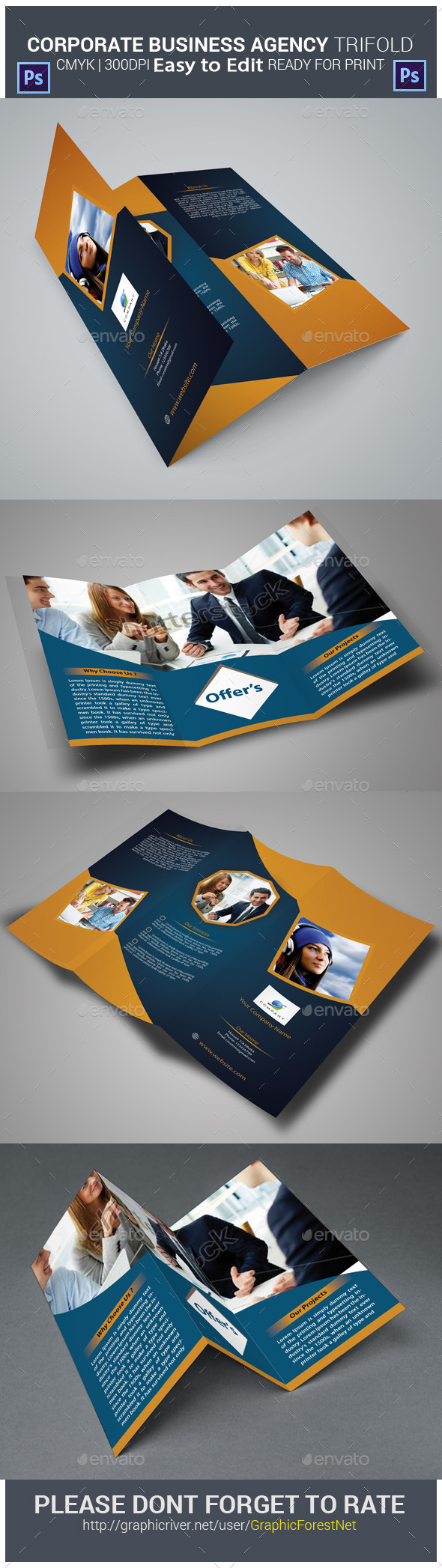 Corporate Business Agency Tri-fold Brochure - Brochures Print